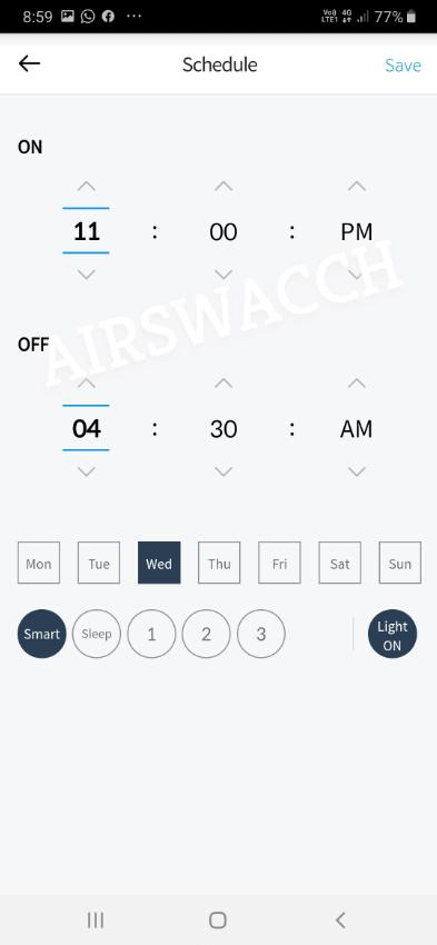 Coway Airmega 300S Scheduler